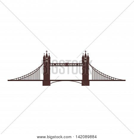 london tower bridge british river famous england vector graphic isolated and flat illustration