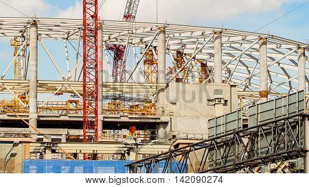 Construction site of football stadium for football championship, construction concept
