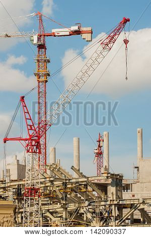 Construction site of football stadium for football championship, vertical