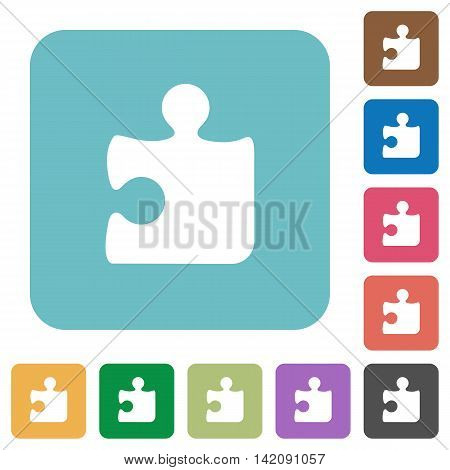 Flat puzzle piece icons on rounded square color backgrounds.