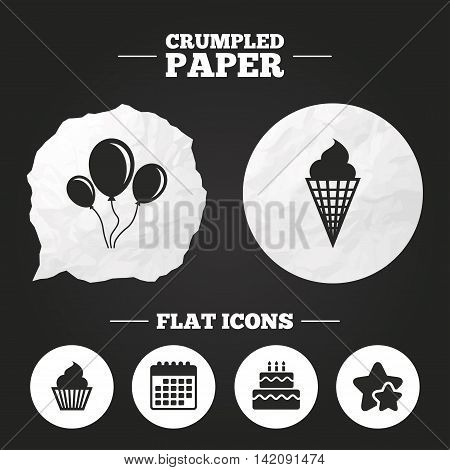 Crumpled paper speech bubble. Birthday party icons. Cake with ice cream signs. Air balloons with rope symbol. Paper button. Vector