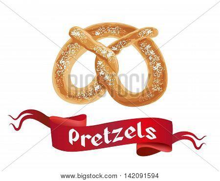 Oktoberfest poster with Pretzels on white background. Octoberfest banner