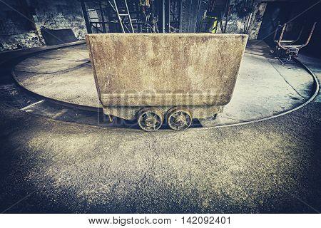 Retro Toned Old Rusty Mine Cart.