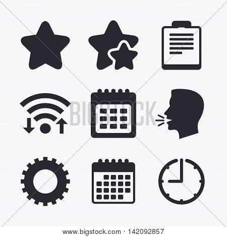 Calendar and Star favorite icons. Checklist and cogwheel gear sign symbols. Wifi internet, favorite stars, calendar and clock. Talking head. Vector