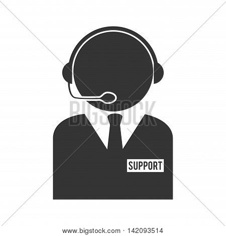support headset person call operator reception assistant communication service vector graphic isolated and flat illustration