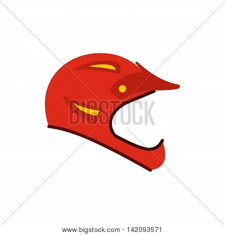 Helmet for motorcyclist icon in flat style isolated on white background. Head protection symbol
