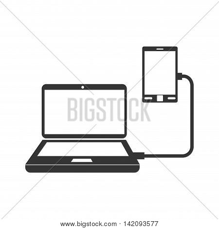 laptop cell transfer sync  smartphone connect computer vector graphic isolated and flat illustration
