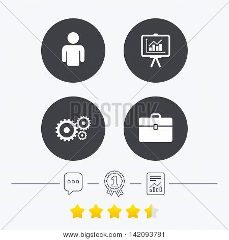 Business icons. Human silhouette and presentation board with charts signs. Case and gear symbols. Chat, award medal and report linear icons. Star vote ranking. Vector