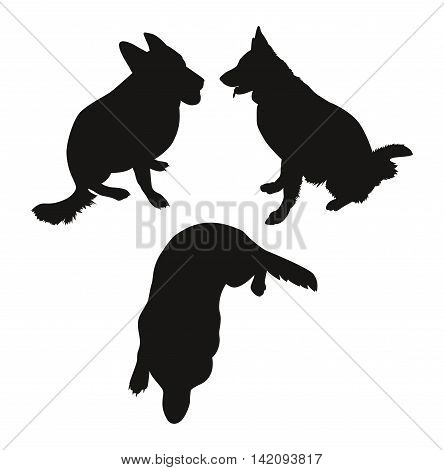 Three simple silhouette of a German Shepherd. Vector illustration