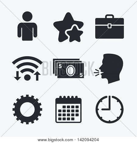 Businessman icons. Human silhouette and cash money signs. Case and gear symbols. Wifi internet, favorite stars, calendar and clock. Talking head. Vector
