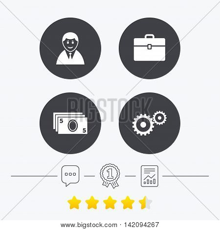 Businessman icons. Human silhouette and cash money signs. Case and gear symbols. Chat, award medal and report linear icons. Star vote ranking. Vector