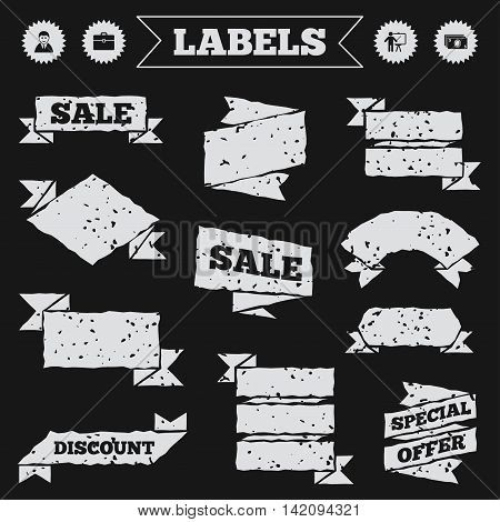 Stickers, tags and banners with grunge. Businessman icons. Human silhouette and cash money signs. Case and presentation symbols. Sale or discount labels. Vector
