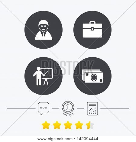 Businessman icons. Human silhouette and cash money signs. Case and presentation symbols. Chat, award medal and report linear icons. Star vote ranking. Vector