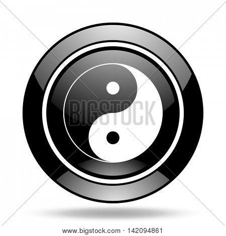 ying yang black glossy icon