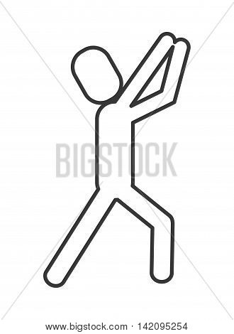 flat design man pictogram with arms extended icon vector illustration