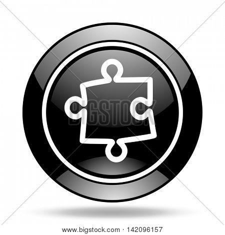 puzzle black glossy icon