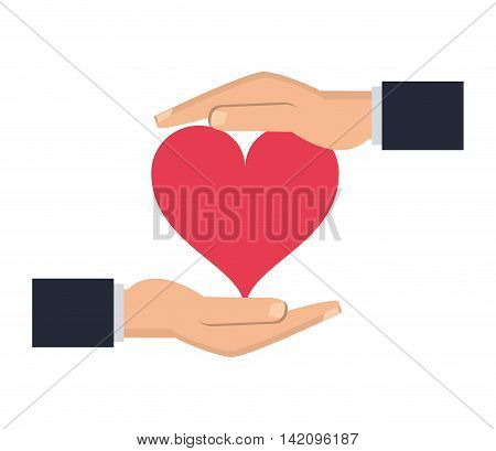 flat design shelter hand with cartoon heart icon vector illustration