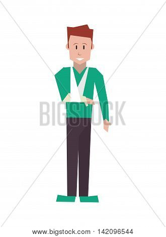 flat design man with broken arm icon vector illustration