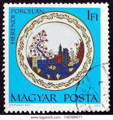 HUNGARY - CIRCA 1972: a stamp printed in Hungary shows Plate with Mexican Landscape Herend Porcelain circa 1972