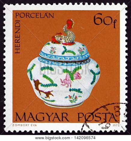 HUNGARY - CIRCA 1972: a stamp printed in Hungary shows Covered Candy Dish Herend Porcelain circa 1972