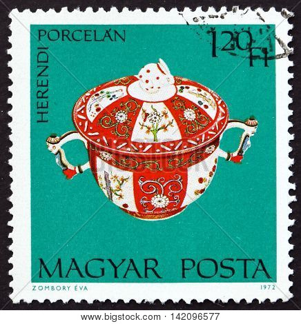 HUNGARY - CIRCA 1972: a stamp printed in Hungary shows Covered Dish Herend Porcelain circa 1972