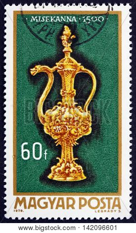 HUNGARY - CIRCA 1970: a stamp printed in Hungary shows Altar Burette 1500 Hungarian Goldsmiths' Art circa 1970