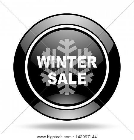 winter sale black glossy icon