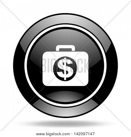 financial black glossy icon