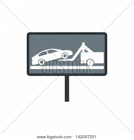 Sign evacuation of cars to impound yard icon in flat style isolated on white background. Punishment symbol