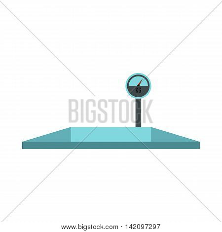 Truck scales icon in flat style isolated on white background. Weighing symbol