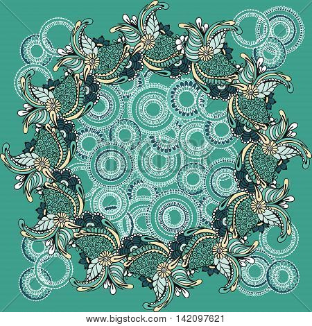 Card with floral ornaments arranged in a circle. Floral round pattern for the greeting cards invitation template frame design for business style cards or else. Vector illustration
