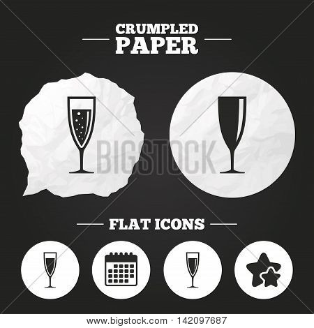 Crumpled paper speech bubble. Champagne wine glasses icons. Alcohol drinks sign symbols. Sparkling wine with bubbles. Paper button. Vector
