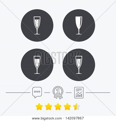 Champagne wine glasses icons. Alcohol drinks sign symbols. Sparkling wine with bubbles. Chat, award medal and report linear icons. Star vote ranking. Vector