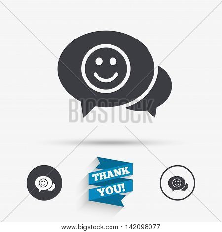 Chat Smile icon. Happy face chat symbol. Flat icons. Buttons with icons. Thank you ribbon. Vector