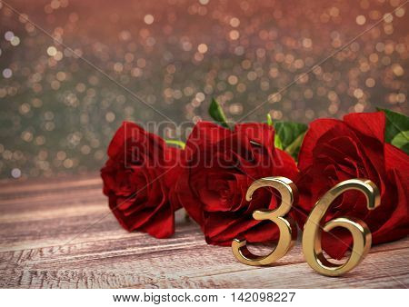 birthday concept with red roses on wooden desk. 3D render - thirty-sixth birthday. 36th