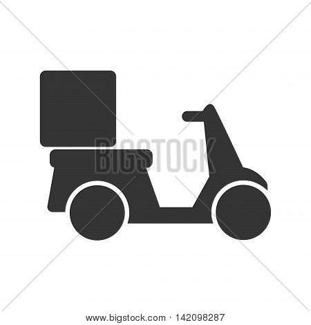 scooter delivery box transportation correspondence transport vehicle motorbike vector graphic isolated and flat illustration