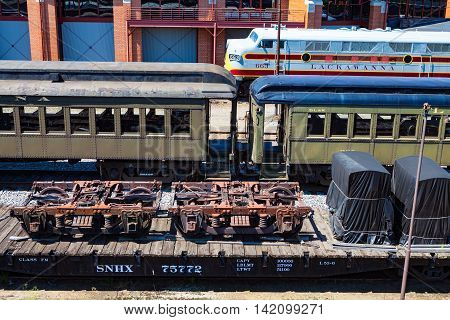 Scranton PA - June 20 2013: Steamtown National Historic Site is a railroad museum. Operated by the National Park Service it includes a large collection of locomotives.