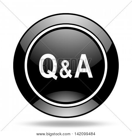 question answer black glossy icon