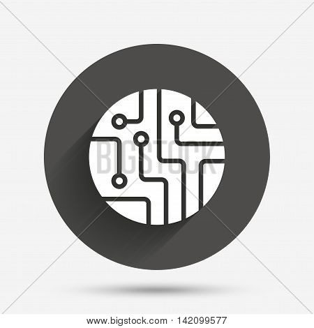 Circuit board sign icon. Technology scheme circle symbol. Circle flat button with shadow. Vector