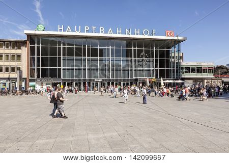 COLOGNE GERMANY - AUG 7 2016: Central station (german Hauptbahnhof) in the city of Cologne. North Rhine-Westphalia Germany