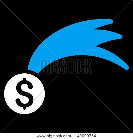 Lucky Money icon. Vector style is bicolor flat iconic symbol with rounded angles, blue and white colors, black background.