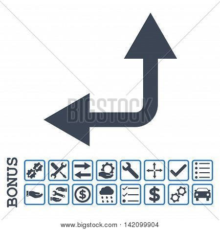 Bifurcation Arrow Left Up icon with bonus pictograms. Glyph style is flat iconic symbol, smooth blue colors, white background. Bonus style is bicolor square rounded frames with symbols inside.