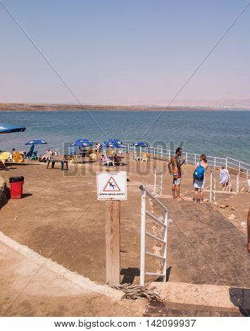DEAD SEA ISRAEL - Juli 14: Bathing brine and mud in the Dead Sea Israel Juli 14 2015.