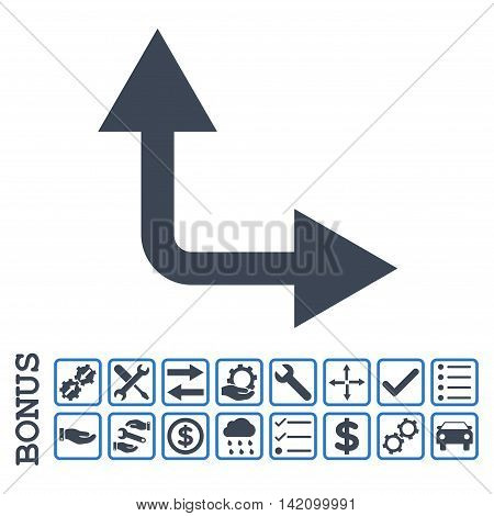 Bifurcation Arrow Right Up icon with bonus pictograms. Glyph style is flat iconic symbol, smooth blue colors, white background. Bonus style is bicolor square rounded frames with symbols inside.