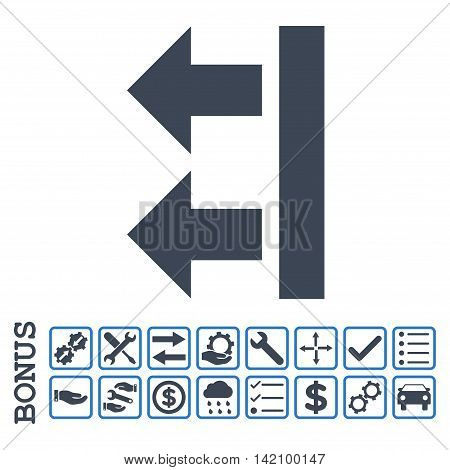 Bring Left icon with bonus pictograms. Glyph style is flat iconic symbol, smooth blue colors, white background. Bonus style is bicolor square rounded frames with symbols inside.