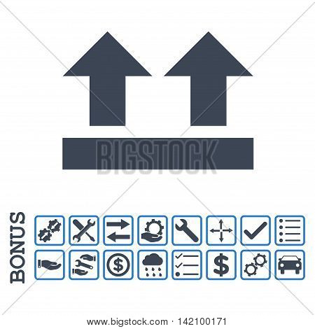 Bring Up icon with bonus pictograms. Glyph style is flat iconic symbol, smooth blue colors, white background. Bonus style is bicolor square rounded frames with symbols inside.