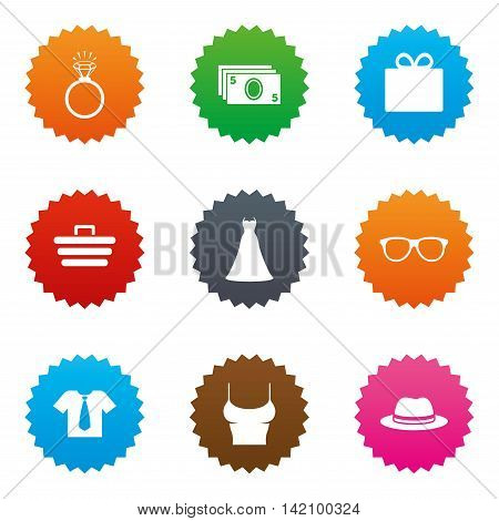 Accessories, clothes icons. Shirt with tie, glasses signs. Dress and engagement ring symbols. Stars label button with flat icons. Vector