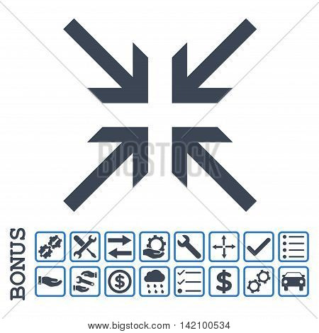 Collide Arrows icon with bonus pictograms. Glyph style is flat iconic symbol, smooth blue colors, white background. Bonus style is bicolor square rounded frames with symbols inside.