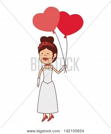 bride women love balloon hair dress hand up vector graphic isolated and flat illustration