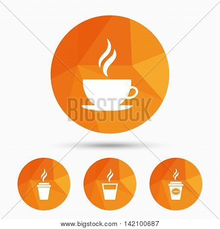 Coffee cup icon. Hot drinks glasses symbols. Take away or take-out tea beverage signs. Triangular low poly buttons with shadow. Vector